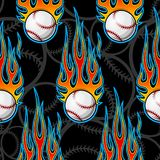 Seamless vector pattern with baseball softball ball icon and flame. Printable seamless pattern with baseball softball ball and hotrod flame. Vector illustration Royalty Free Stock Photo