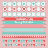 Printable set świątobliwi valentine przyjęcia elementy Szczęśliwy walentynka dnia set ilustracji