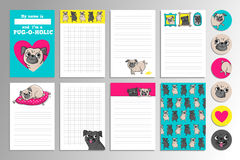 Printable set with cute pugs. Set with cute pugs. Printable vector cards, notes and stickers for your design Royalty Free Stock Photos
