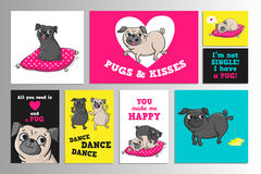 Printable set with cute pugs. Stock Images