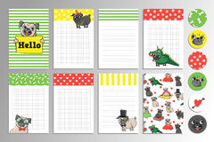 Printable set with cute pugs. Set with cute pugs. Printable vector cards, notes and stickers for your design Stock Image