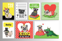 Printable set with cute pugs. Set with cute pugs. Printable vector cards, notes and stickers for your design Stock Images