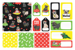 Printable set with cute pugs. Set with cute pugs. Printable vector cards, notes and stickers for your design Stock Photography