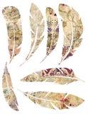 Printable set grungy akwarela rocznik upierza na białym tle ilustracja wektor