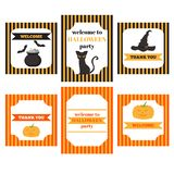 Printable set of Halloween party elements. Templates, labels, icons and wraps with pumpkin, cat, hat, bat and shoes royalty free illustration
