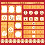 Printable set of Jewish holiday Hanukkah party elements. Templates, labels, icons and wraps with traditional donuts, holiday candl Royalty Free Stock Image