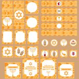 Printable set of Jewish holiday Hanukkah party elements. Templates, labels, icons and wraps with traditional donuts, holiday candl Stock Photo