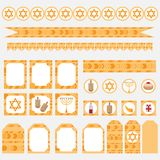 Printable set of Jewish holiday Hanukkah party elements. Templates, labels, icons and wraps with traditional donuts, holiday candl Royalty Free Stock Photos
