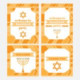 Printable set of Jewish holiday Hanukkah party elements. Templates, labels, icons and wraps with traditional donuts, holiday candl Stock Image