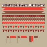 Printable set rocznika Lumberjack przyjęcia elementy Szablony, etykietki, ikony i opakunki, Fotografia Stock
