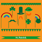 Printable set of saint patrick party elements. Stock Photos