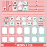 Printable set of saint valentine party elements. Happy Valentines Day set. Stock Photos