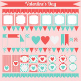 Printable set of saint valentine party elements. Happy Valentines Day set. Stock Image