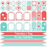 Printable set of saint valentine party elements. Happy Valentines Day set. Stock Photo