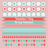 Printable set of saint valentine party elements. Happy Valentines Day set. Royalty Free Stock Photography