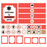 Printable set of vintage cowboy party elements. Templates, labels, icons and wraps Stock Photography