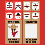 Printable set of vintage cowboy party elements Stock Photography