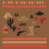 Printable set of vintage cowboy party elements Stock Images