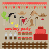 Printable set of vintage cowboy party elements. Templates, labels, icons and wraps Stock Images