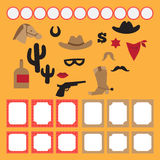 Printable set of vintage cowboy party elements. Templates, labels, icons and wraps Royalty Free Stock Image