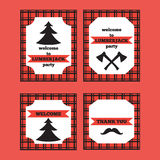 Printable set of vintage Lumberjack invitation and welcome cards Stock Photo