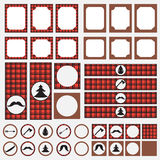 Printable set of vintage Lumberjack party elements. Templates, labels, icons and wraps. Stock Photos
