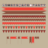 Printable set of vintage Lumberjack party elements. Templates, labels, icons and wraps. Stock Photography