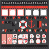 Printable set of vintage pirate party elements. Royalty Free Stock Images