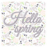 Printable spring wall art with floral pattern and typography Royalty Free Stock Images