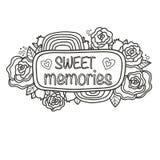 Printable `Sweet memories` sticker. Royalty Free Stock Photo