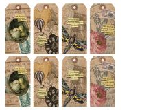 Printable Tag Sheet - French Collage Art Tags - Ephemera - Florals - Artist Tags. Printable sheet French Ephemera art tags, featuring diecut illustrations, moths royalty free illustration