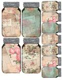 Printable Tag Sheet - Vintage Mason Jar Collage Floral Tags - Distressed - Farmhouse Style. Printable tag sheet of vintage Mason style jars, featuring collage royalty free illustration