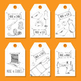 Printable tags in a retro style Hand-drawn. Sewing devices, devices for manufacturing, tailoring and textiles. Made in the USA, Ch Stock Images