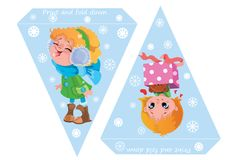 Printable template flags. Banner Baby Shower, Birthday, New Year or Christmas Party with cute girls and snowflakes. Printable template flags. Banner Baby Shower Stock Photos