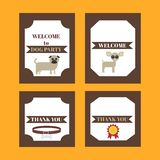 Printable tribal set of vintage dog party elements. Templates, labels, icons and wraps. Royalty Free Stock Image