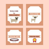 Printable tribal set of vintage dog party elements. Templates, labels, icons and wraps. Stock Photography