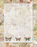 Printable vintage shabby chic style abstract floral stationary or background with butterflies Stock Images