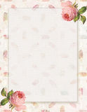 Printable vintage shabby chic style floral rose stationary on feather background stock illustration