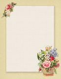 Printable vintage shabby chic style floral rose stationary on green paper background Stock Image
