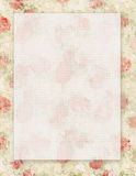 Printable vintage shabby chic style floral rose stationary on green paper background Royalty Free Stock Image