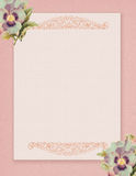 Printable vintage shabby chic style floral rose stationary on green paper background Stock Photo