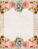 Printable vintage shabby chic style floral rose stationary on wood background Stock Photography
