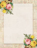 Printable vintage shabby chic style floral rose stationary on wood background Stock Image