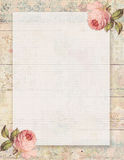 Printable vintage shabby chic style floral rose stationary on wood background Stock Photo
