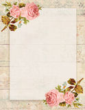 Printable vintage shabby chic style floral rose stationary on wood background stock illustration