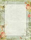 Printable vintage shabby chic style floral stationary with butterflies Royalty Free Stock Image