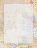 Printable vintage shabby chic style floral stationary on collaged vintage wallpaper background with space for text Royalty Free Stock Photo
