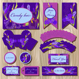 Printable wedding backgrounds set with iris flowers. Candy bar design Stock Photo