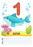 Printable worksheet dla dziecina i preschool Trenujemy pisać liczbach Mathe ćwiczenia Jaskrawe postacie na morskim backgro royalty ilustracja