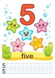 Printable worksheet dla dziecina i preschool Trenujemy pisać liczbach Mathe ćwiczenia Jaskrawe postacie na morskim backgro ilustracja wektor